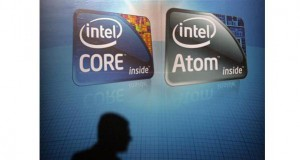 A shadow is cast on an Intel advertisement at the Computex 2010 computer fair in Taipei