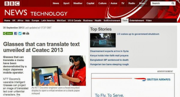 BBC News - Glasses that can translate text unveiled at Ceatec 2013