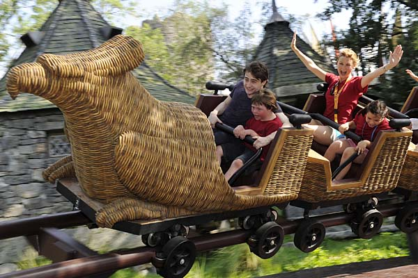 Harry Potter film star Daniel Radcliffe rides the Flight of the Hippogriff attraction at Universal Orlando Resort in Florida