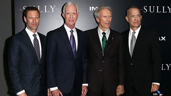 Mandatory Credit: Photo by Debby Wong/REX/Shutterstock (5892982h) Aaron Eckhart, Chesley Sullenberger, Clint Eastwood, Tom Hanks 'Sully' film premiere, New York, USA - 06 Sep 2016