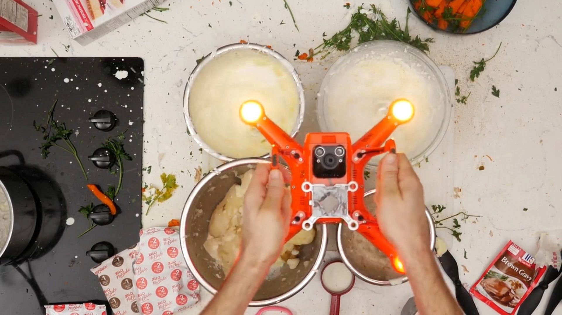 Drone prepare the Thanksgiving meal 01