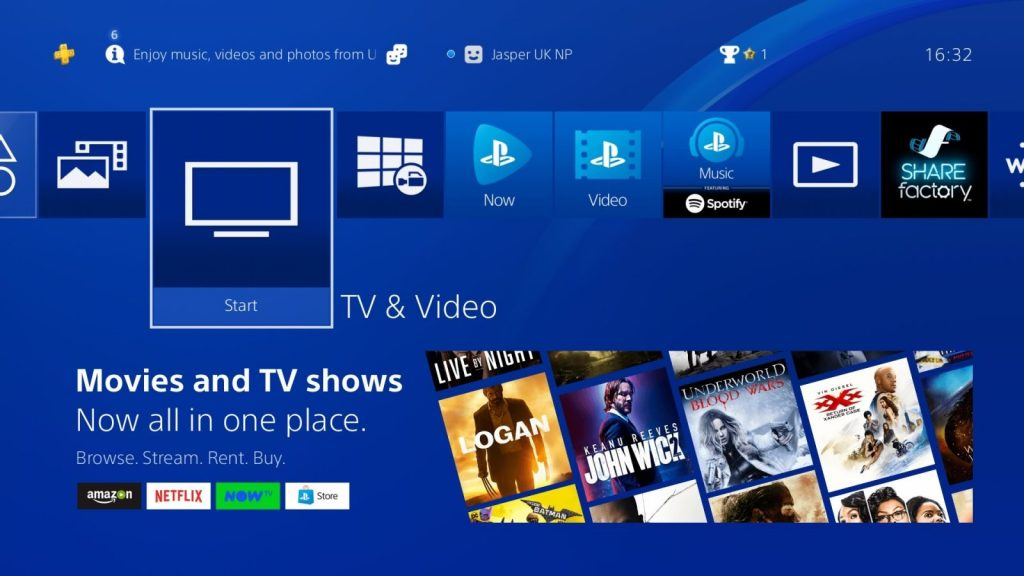 PlayStation 4 Home Screen