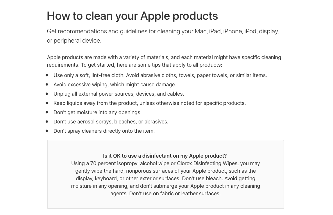 clean apple product