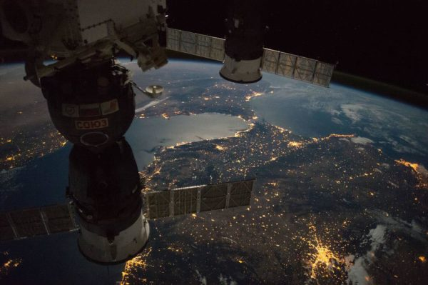 Nighttime View of the Strait of Gibraltar