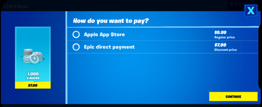 Fortnite direct payment on iOS